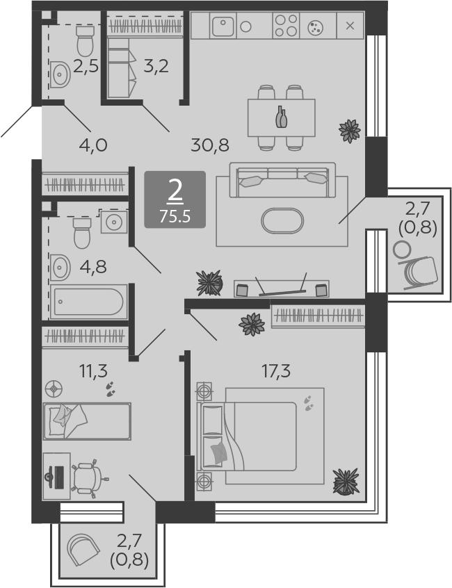 3Е-комнатная, 75.5 м²– 2