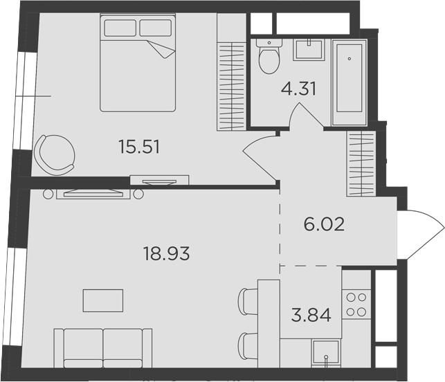 2Е-к.кв, 48.61 м²
