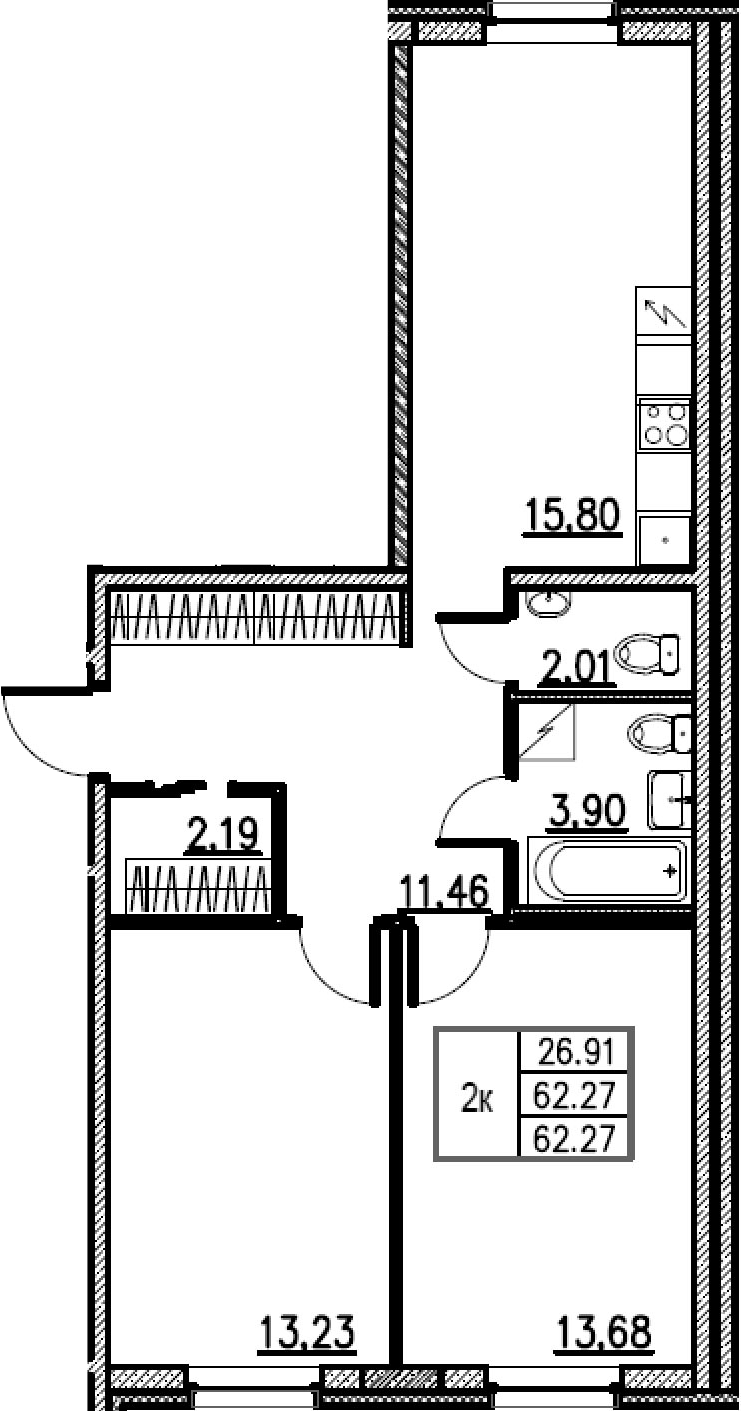 3Е-комнатная, 62.27 м²– 2