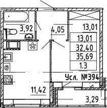 1-комнатная, 32.4 м²– 2