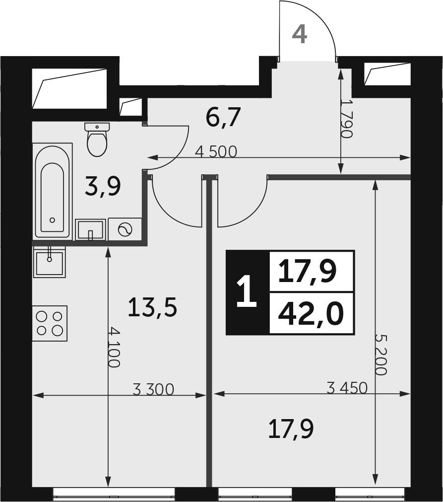 1-к.кв, 42 м², 34 этаж