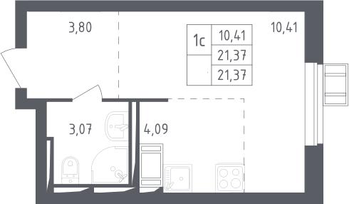 Студия, 21.37 м², 17 этаж