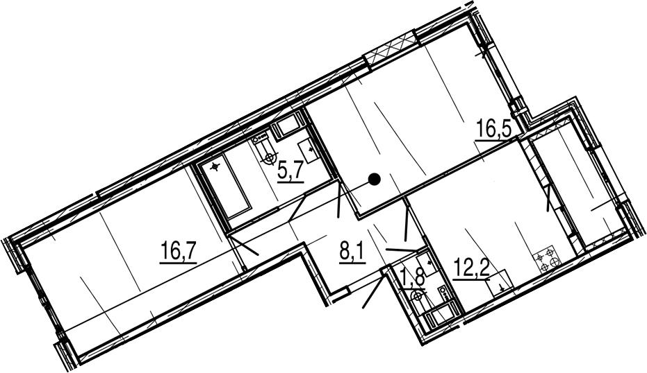 2-комнатная, 62.9 м²– 2