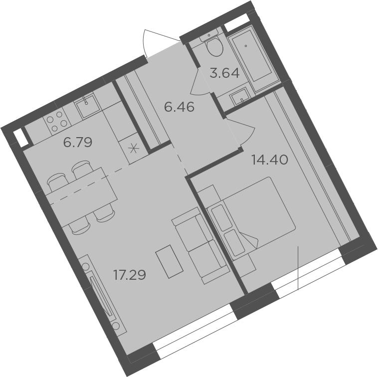 2-к.кв (евро), 48.58 м²