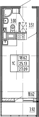 Студия, 27.09 м²