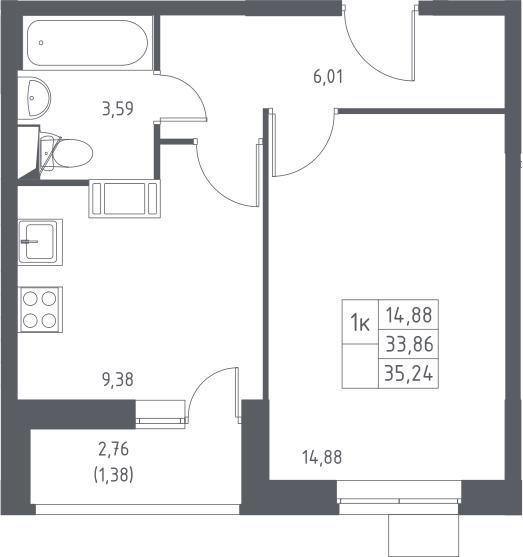 1-к.кв, 36.62 м²