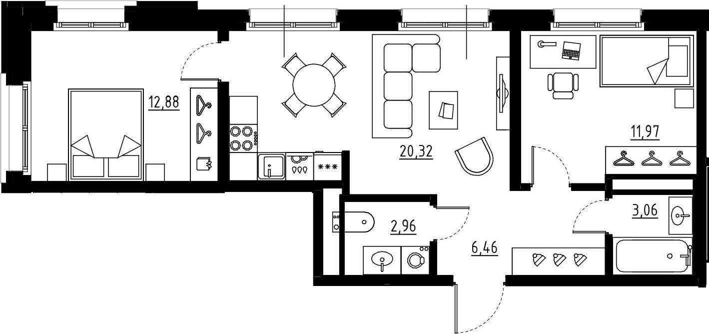 3Е-к.кв, 57.65 м², 3 этаж