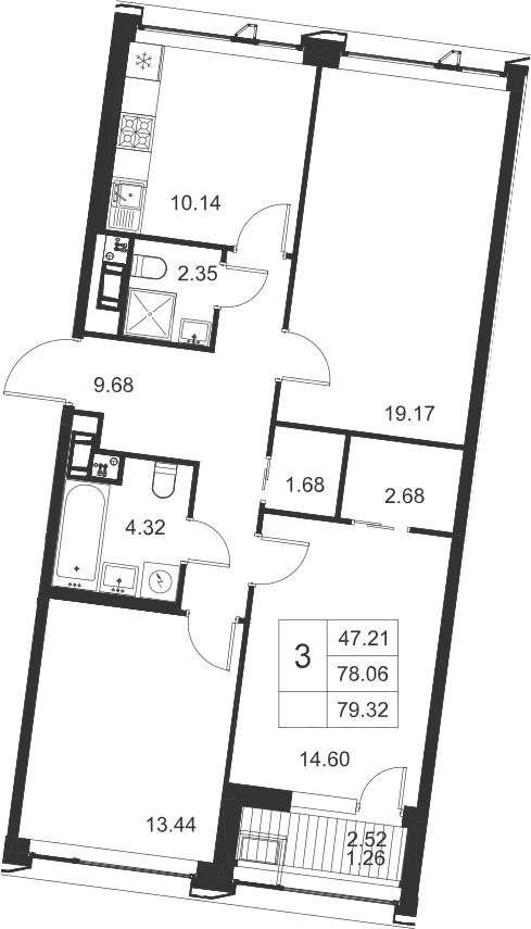 3-к.кв, 79.32 м²
