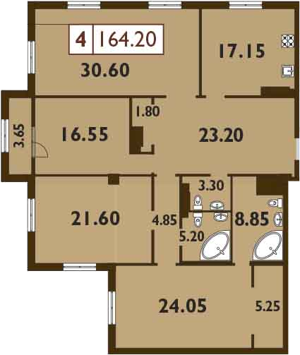5-к.кв (евро), 166.02 м²