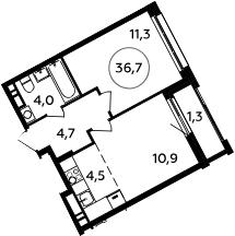 2Е-к.кв, 36.7 м², 13 этаж