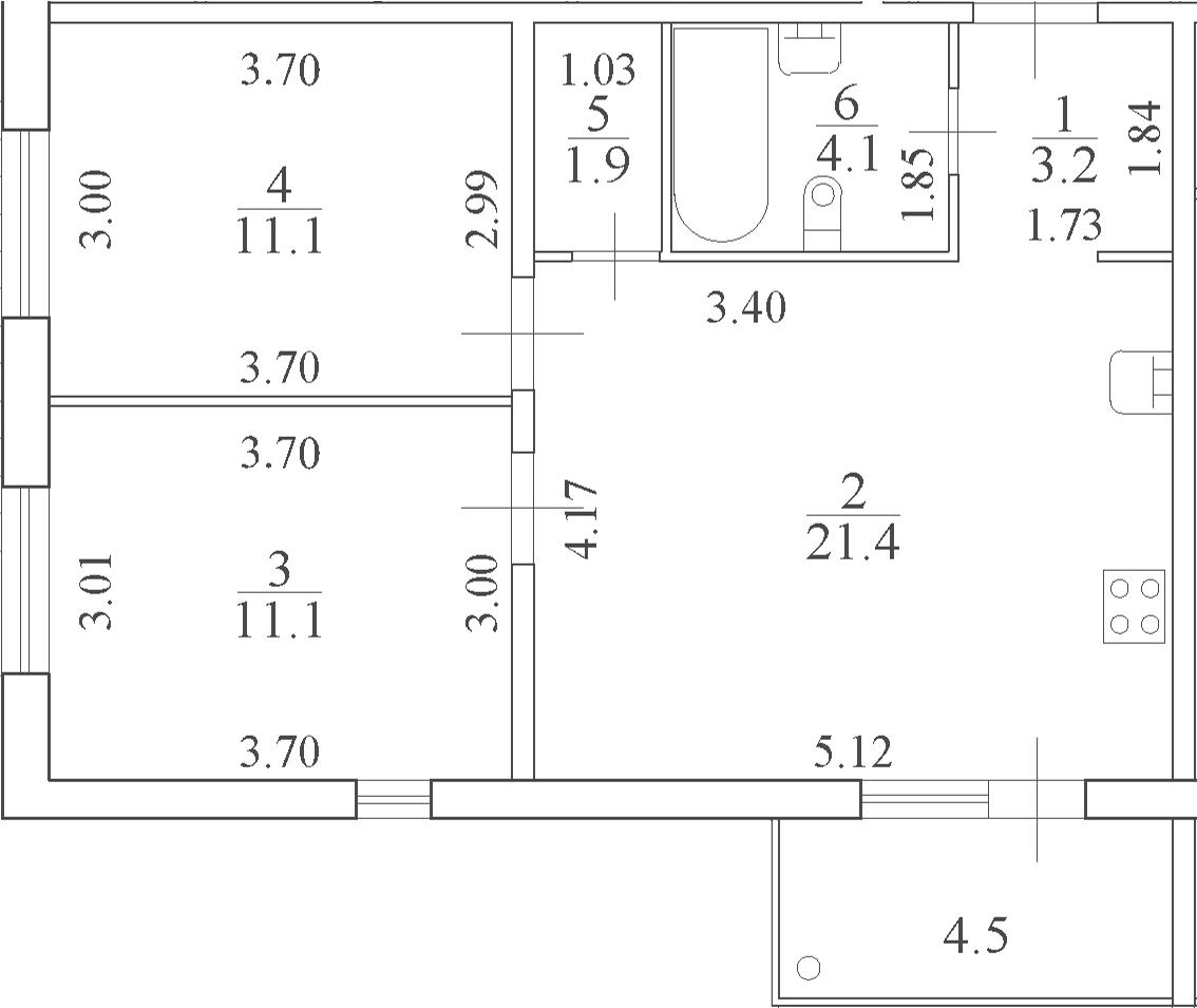 3-к.кв (евро), 57.47 м²