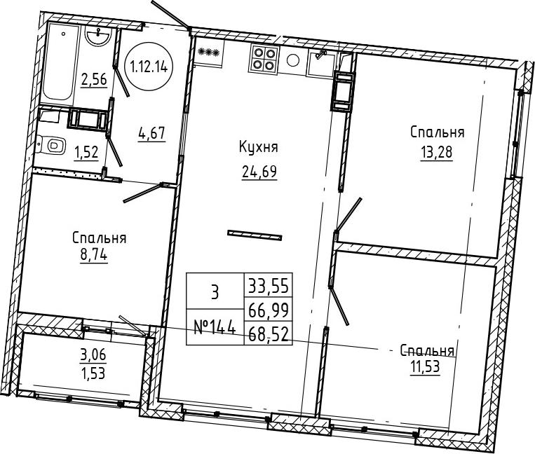 4Е-к.кв, 68.52 м², 12 этаж