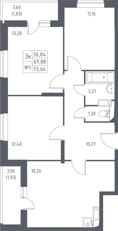 3-к.кв, 73.64 м²