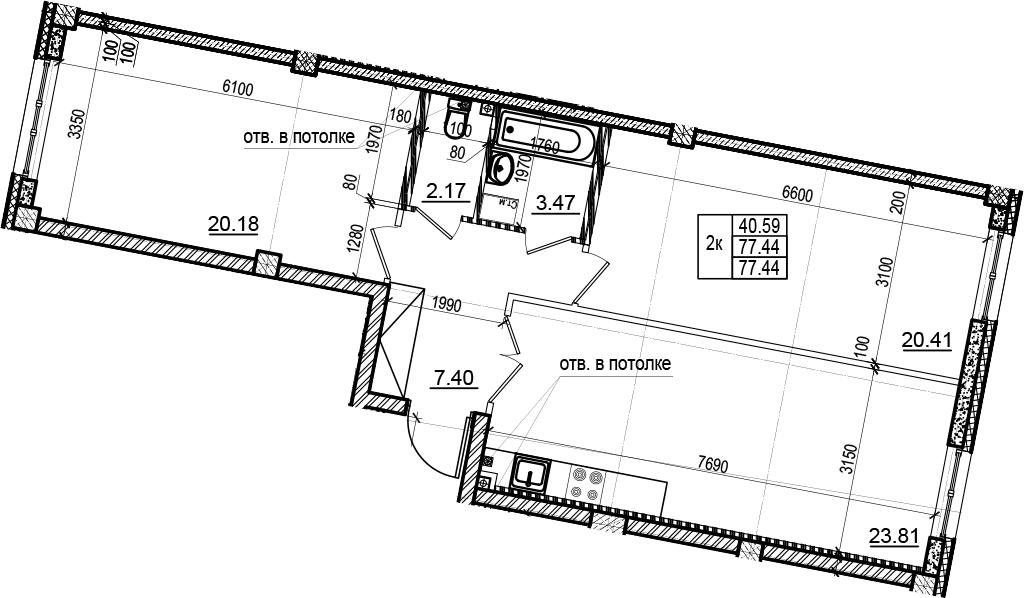 3Е-комнатная, 77.44 м²– 2