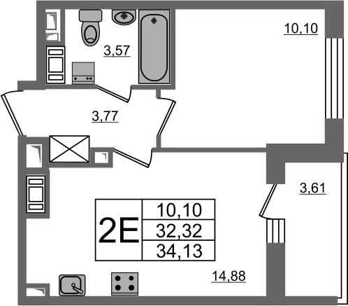 2-к.кв (евро), 35.93 м²