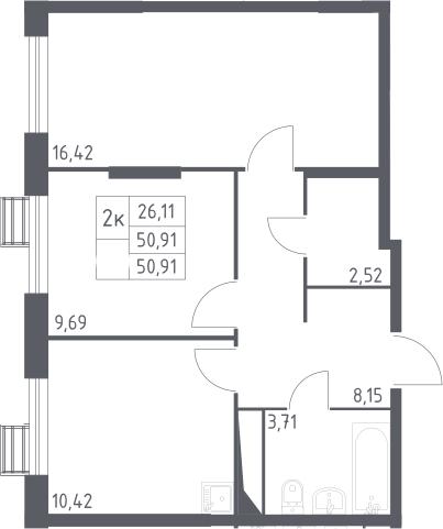 2-к.кв, 50.91 м²