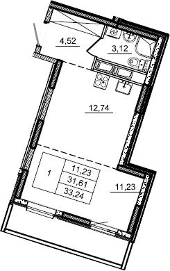 Студия, 33.24 м², 6 этаж – Планировка
