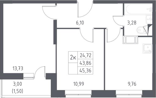 2-к.кв, 46.86 м²