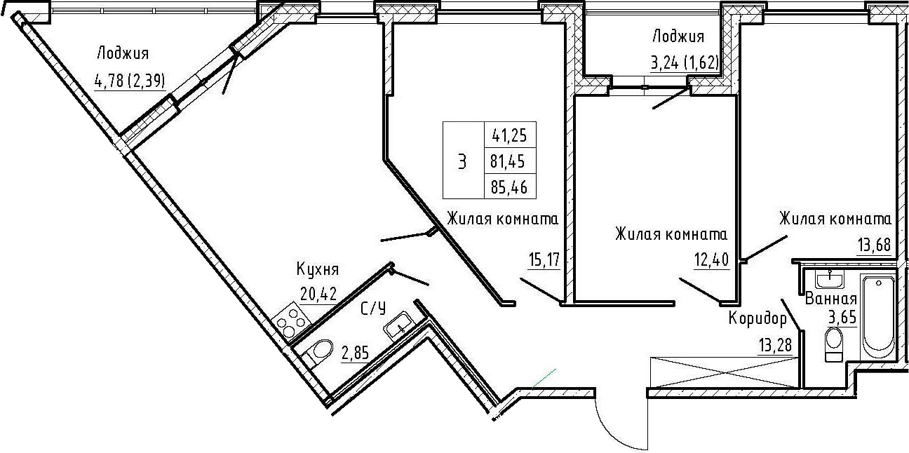 4Е-к.кв, 85.46 м²