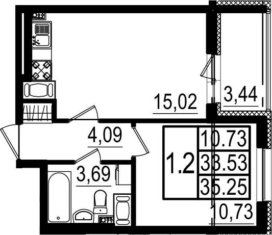 2Е-к.кв, 33.53 м²