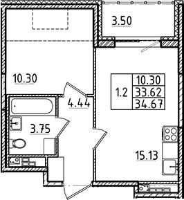 2Е-к.кв, 33.62 м²