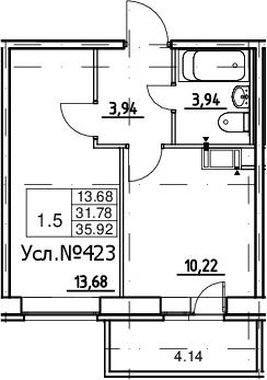 1-к.кв, 31.78 м²