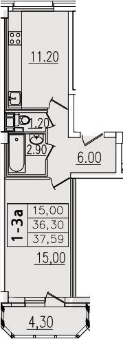 1-комнатная, 37.59 м²– 2