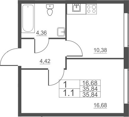 1-комнатная, 35.84 м²– 2