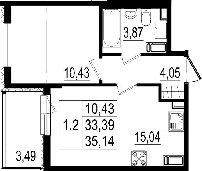 2Е-к.кв, 33.39 м²