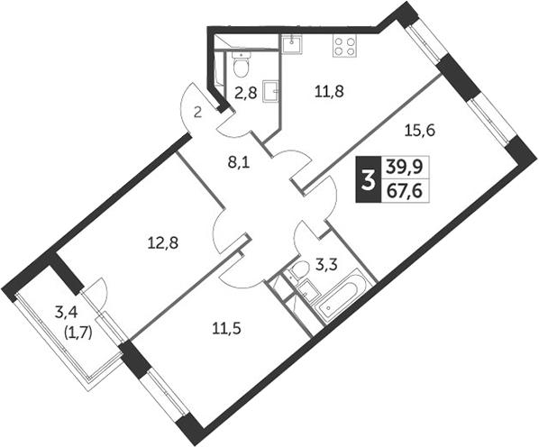 3-к.кв, 67.5 м²