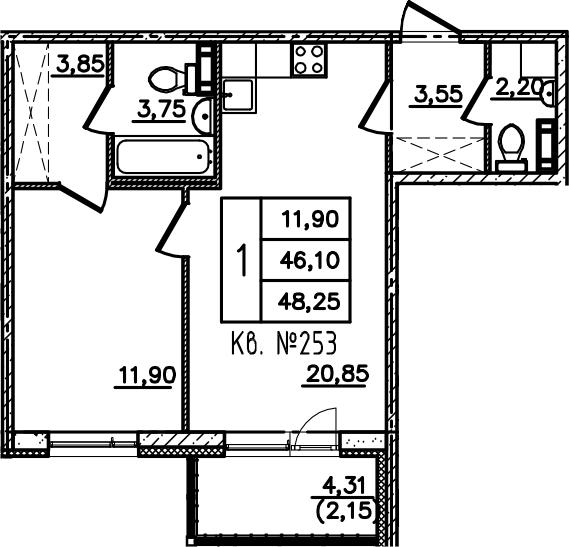 2-к.кв (евро), 50.41 м²