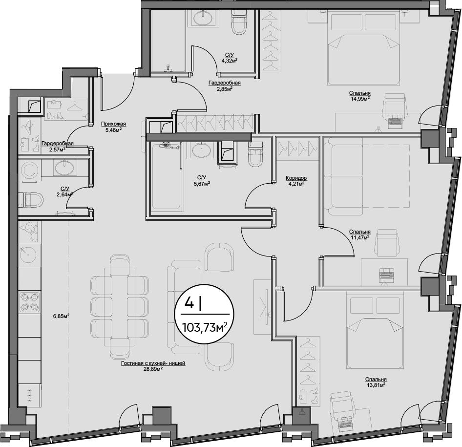 4Е-комнатная, 103.73 м²– 2