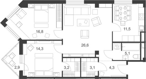 3-к.кв, 90.4 м², от 18 этажа
