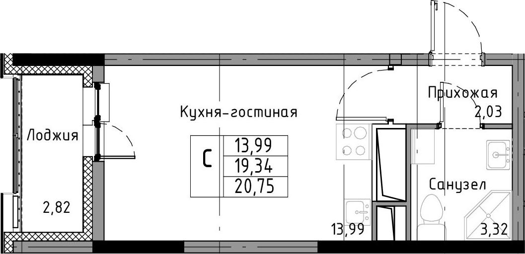 Студия, 20.75 м², от 5 этажа