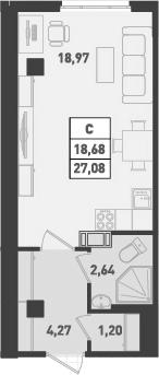 Студия, 27.08 м²– 2