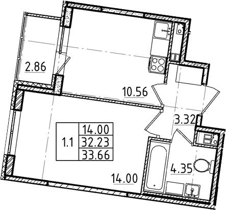 1-комнатная, 32.23 м²– 2