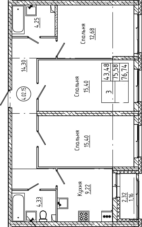 3-комнатная, 76.74 м²– 2
