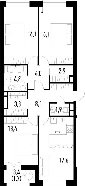 4-к.кв (евро), 92.1 м²