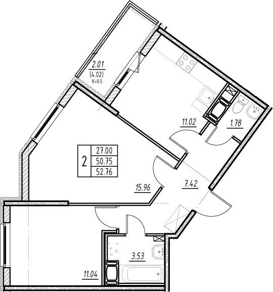2-к.кв, 50.75 м²