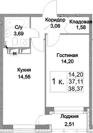1-к.кв, 39.63 м²