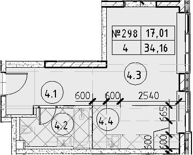 Студия, 34.16 м², 33 этаж