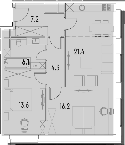 3Е-к.кв, 68.8 м²