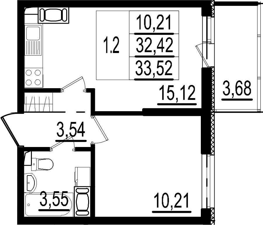2Е-к.кв, 32.42 м²