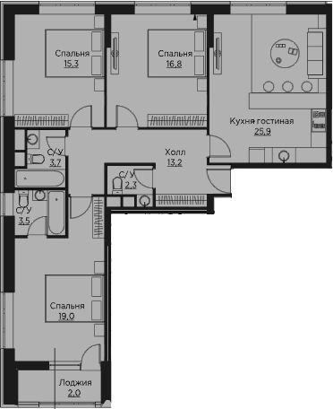 4Е-к.кв, 101.7 м²