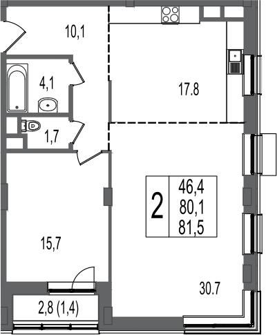2-к.кв, 81.5 м²