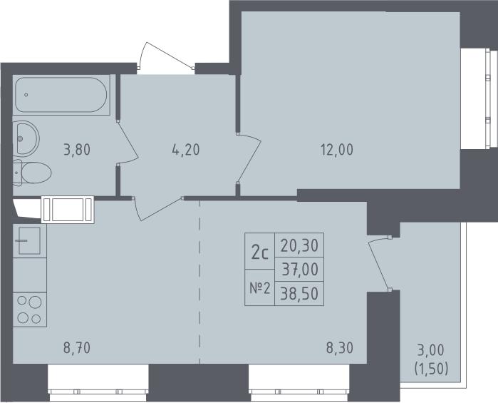 2-к.кв (евро), 40 м²