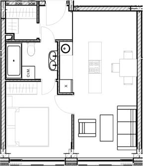 Свободная планировка, 39.8 м²– 2