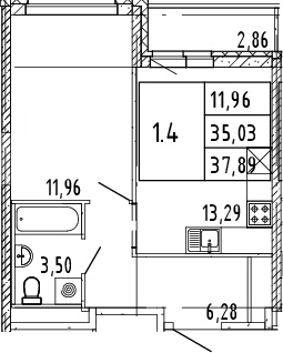 2Е-комнатная, 37.89 м²– 2