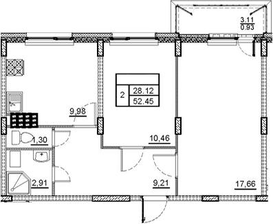 2-комнатная, 52.45 м²– 2