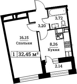 1-комнатная, 32.45 м²– 2
